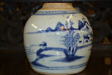 Antique large early 19th century Chinese blue and white ginger jar , c1820