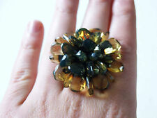Natural Facet Green Baltic Amber Ring WithTextile! Premium quality!
