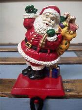Waving Santa Bag of Toys SOLID Cast Iron CHRISTMAS STOCKING HOLDER Hanger