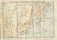 Mapa/Batalla Plan ~ Lake Champlain A Delaware Bay ~ Americano Campaña 1777