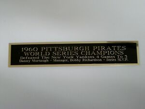 Pittsburgh Pirates 1960 World Series Nameplate For A Baseball Jersey 1.5 X 6
