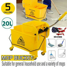 New ListingMini Mop Bucket w/Wringer Combo 5 Gallon Commercial Rolling Cleaning Cart Yellow
