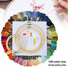 100 Farbe Stickgarn Kreuzstich Embroidery tool set 5*Strickrahmen 30*Needle DIY