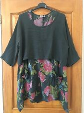 Italian Lagenlook Ladies FLORAL LINEN 2 Piece Layered Dress Shrug Top Set 10-14
