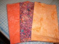 Batik Stashbuilder Set 376 - Three Orange/Rust Tone Fat Quarters