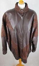 Ladies Vintage 80's Batwing Style -  Brown Leather and Suede Jacket - UK 16