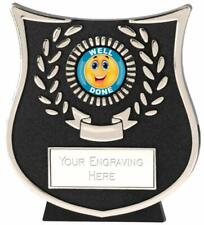Emblems-Gifts Curve Silver Happy Well Done Plaque Trophy With Free Engraving