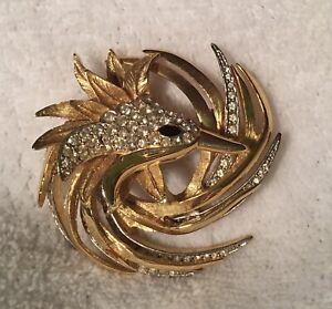 Vintage/Designer/Givenchy/Rhinestone/Gold Tone/Bird/Brooch/#925