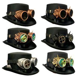 Steampunk Top Hat Fancy Dress Christmas Goggles Spike Retro Halloween Punk Rock