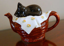 Tony Carter English Teapot Black Cat On Basket/Signed #208/1999  -Collectible