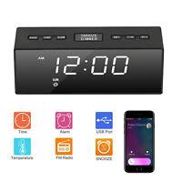 USB Digital LED Alarm Clock FM Ornaments Portable Battery Operated Mirror Radio
