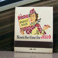 Vintage Matchbook G6 Circa 1940 Apple Fluff Jello Recipe Woman Budget Book Time