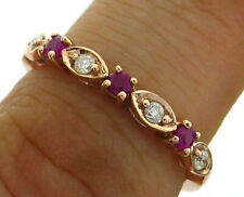 R103 Genuine 9K 9ct Solid Gold Natural Ruby & Diamond Eternity Ring Trilogy
