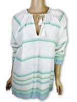 Joie Soft New Tunic Blouse w Ties White w Blue/Green Stripes Cotton MSRP $218