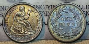 1884 Seated Liberty Dime~Better Date~PCGS AU50 ~Nice Toning!~