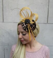 7384a702 Mustard Gold Yellow Black Feather Leopard Animal Print Hat Fascinator Races  6392