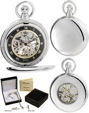 Woodford Hunter Pocket Watch Skeleton Chrome Plated & Black, Free Engraving 1113