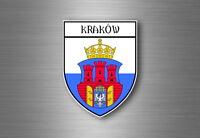 Sticker decal souvenir car coat of arms shield city flag krakow poland