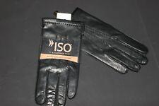 ISO Men's Black Soft Genuine Leather/100% Cashmere Winter Gloves Size L