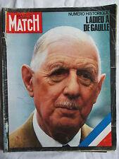 PARIS MATCH 1124 ADIEU A DE GAULLE NUMERO HISTORIQUE 1970