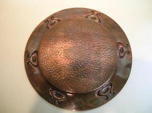 Antique Copper Charger. Arts & Crafts Repousse Charger.  C.1900  (985)