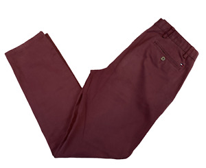 TOMMY HILFIGER Men's Chino Trousers W32 L32 Burgundy Red