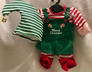 Elf Outfit Doll Bear Merry Christmas Hat Stripes Bell Tb Toy Trading New