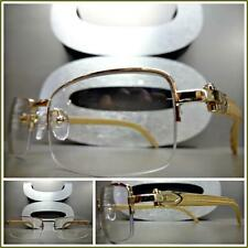 0d0be00aa1 Mens Classy Style Clear Lens Eye Glasses Gold   Wood Wooden Effect Fashion  Frame