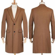 Men Dark Khaki Overcoat Wool Jacket Peaked Lapel Two Button Outwear Long Suits