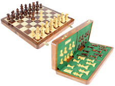 "Wood Folding Magnetic Chess Set + 16"" Chess Board + 3"" Staunton Pieces"