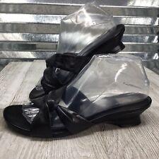 Liz Baker Women's Black Leather Sandal Slip On Block Heel Shoe Size 8