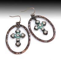 Hammered Metal Copper Patina Teardrop Rhinestone Cross Earrings  Wire Dangle