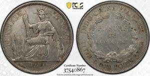French Indo-China IndoChina 1910-A Silver Piastre PCGS XF40 Rare Date!