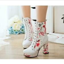 Womens Sweet Floral Printed Block High Heel Lace Up Platform Ankle Boots PlusUS7