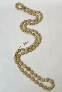 Long Vintage Czech Pressed Glass Scarab Bead Necklace 1920s