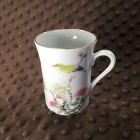 Otagiri Ming Garden Coffee Tea Mug Cup Gold Trim Japan Bird Blossoms Tree Branch