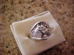 ANTIQUE STERLING SILVER RING WITH HORSE HEAD- SIZE 7- NICE CRISP HEAD