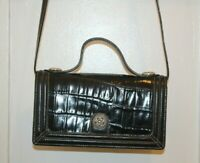 BRIGHTON Vintage Black Croc Embossed Leather Organizer Crossbody Wallet Western