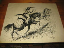 Vintage William Dixon American Indian drawing 1964