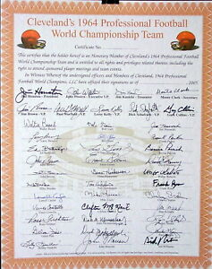 1964 CLEVELAND BROWNS Team SIGNED 16x20 PLAYER CERTIFICATE JIM BROWN w/COA SALE