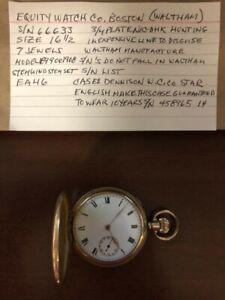 Equity Watch Co (Waltham) 7 Jewel Size 16 1/2 Pocket Watch - Runs