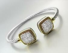GORGEOUS Balinese Square Gold Thin Silver Cable Pave Crystals Cuff Bracelet