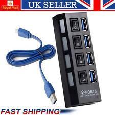 Super Hi Speeed 4 PORT USB HUB 3.0 Adaptador De Cable Con Interruptor De Cable De Alimentación Enchufe de Reino Unido