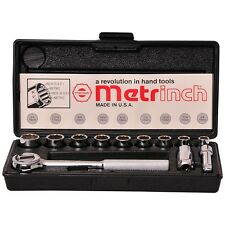 ORIGINAL METRINCH USA 12 PC 3/8 DRIVE 12pt SOCKET RATCHET SET METRIC HEAVY DUTY
