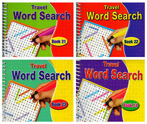 Set 4 x Spiral Bound Word Search Travel Books All Different - 680 Puzzles 3090