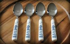 "4 Vtg 7.25"" Blue Willow Handle Tablespoon Place Spoon Lot Stainless Flatware"