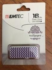 Emtec Flash Drive Wallpaper 16 GB Storage White Purple Zigzag USB 2.0 FREE SHIPP