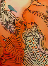 "ACEO original blue BIRD orange line design painting by Lynne Kohler 2.5x3.5"""