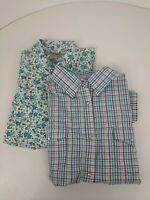 Wrangler Wrancher Pearl Snap Short Sleeve Shirts Women's Size XL Lot of 2