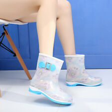 Women Fashion Slip Resistant Bootie Waterproof Rubber Flat Rain Shoes Ankle Boot